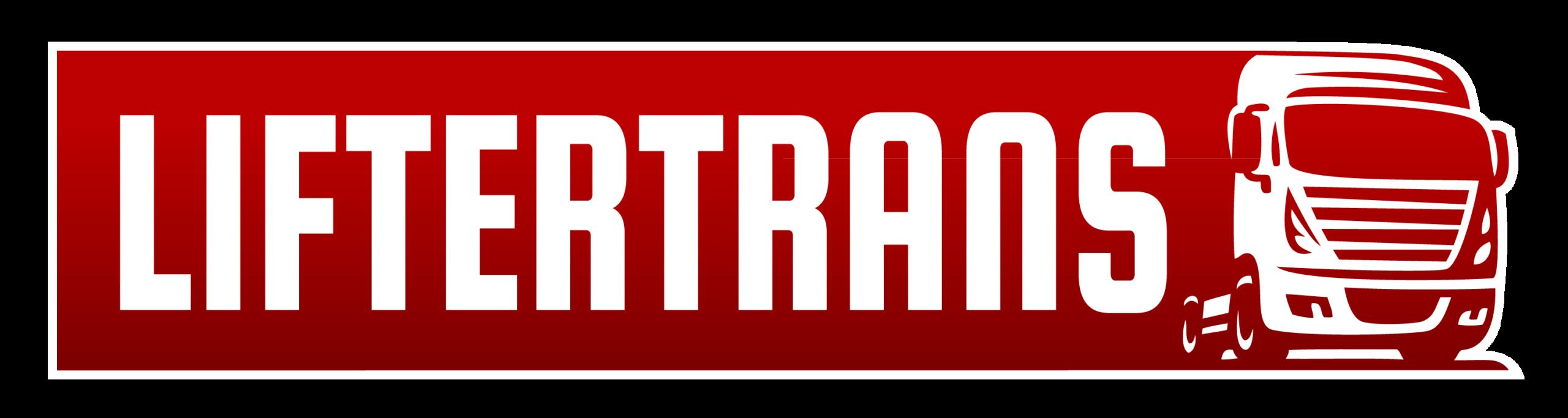 Liftertrans logo, tosetood, puksiir, ehitustehnika transport, ehitusmaterjalide vedu, kraana rent, transporditeenused